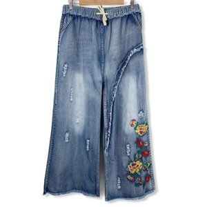 Yesno 2XL Jeans Cropped Wide Leg Flare Distressed